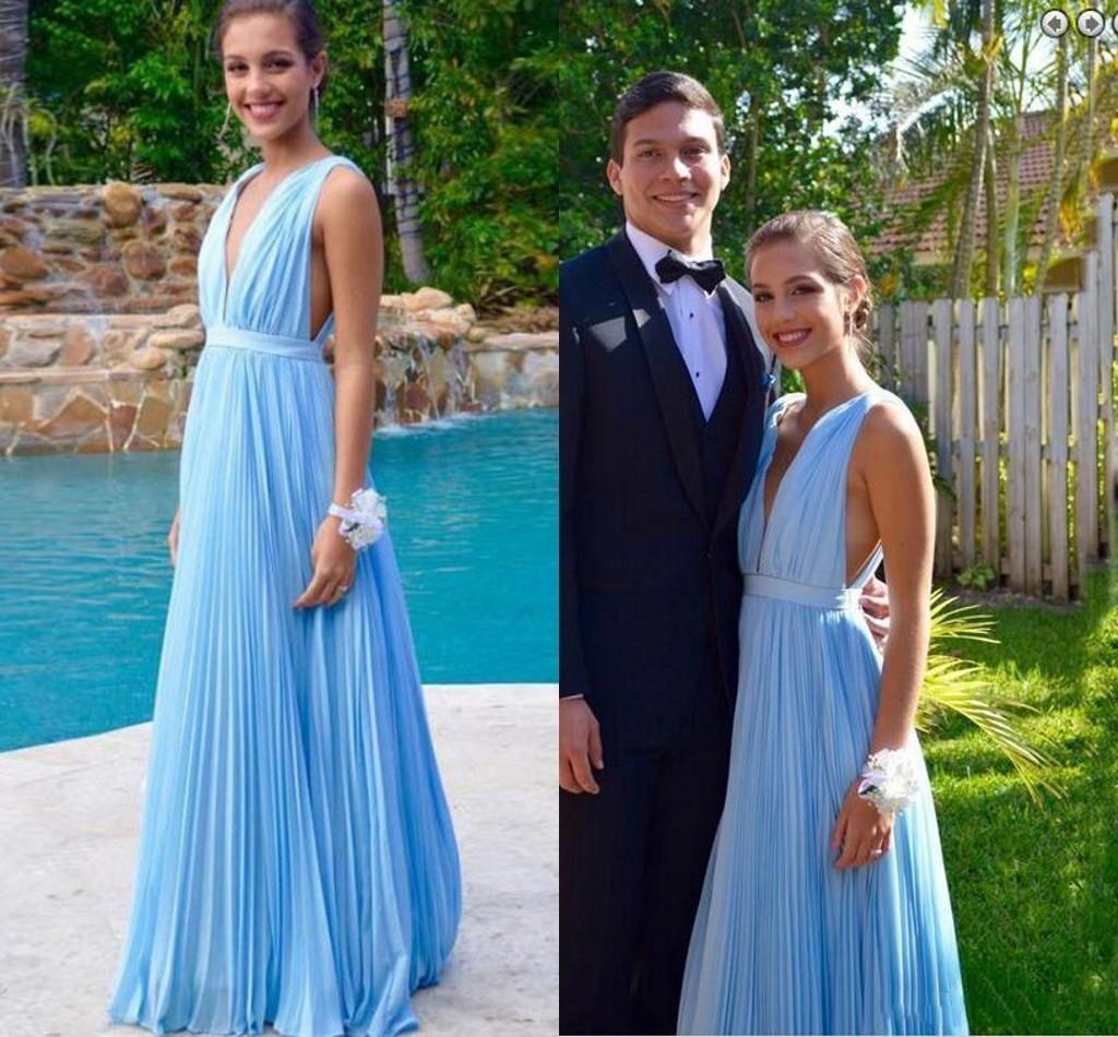 Sexy tiefer V-Ausschnitt Light Blue Lange Abendkleider mit Falte-Fußboden-Länge nach Maße für besondere Anlässe Abendkleid 2020