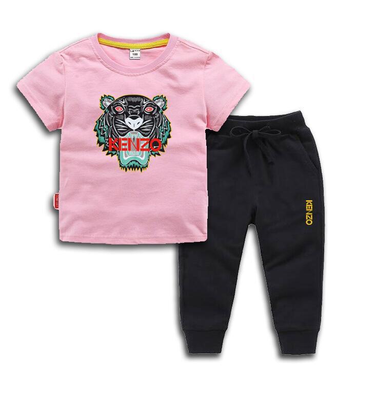 HOT New Fashion Apparel Luxury Logo Designer Boy T-Shirt Pants Set Children Brand Children 2 Piece Cotton 2-7Age Kids Set