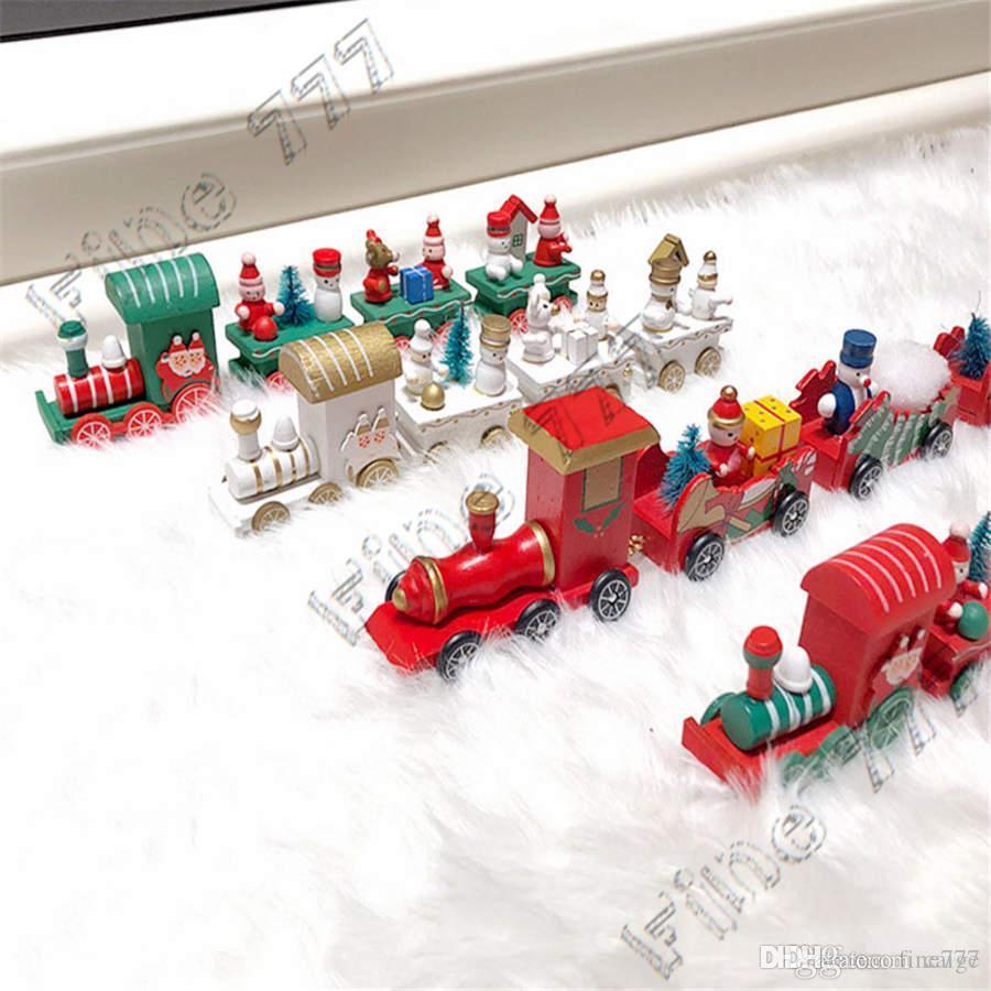 ألعاب للأطفال عيد الميلاد قطار خشبية الاطفال هدايا عيد الميلاد ثلج سانتا كلوز شجرة 4 قطاعات مبتكرة قطار ألعاب تركيب