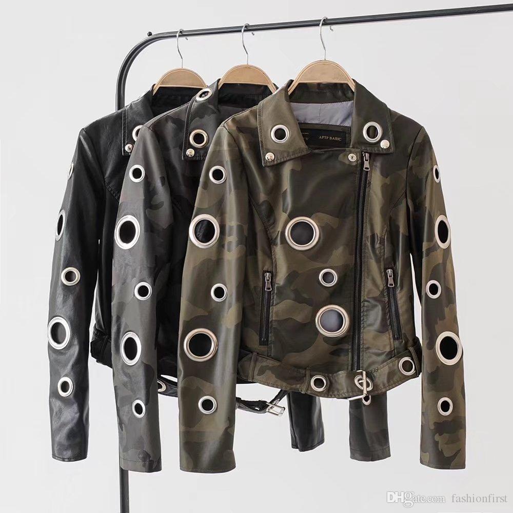 Europe automne nouvelle grande boucle en cuir creux veste boucle ceinture zipper manteau en cuir moto manteau en cuir PU vélo féminin style veste