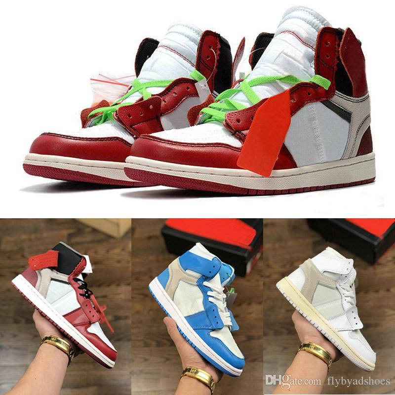 size 40 e4bc3 a9199 Basketball Shoes 1S Mens Chicago Red 1S Sneakers Off Women Designer Shoes  UNC Powder Blue White Trainers Luxury Sport Shoes Size 36 46 Men Shoes ...