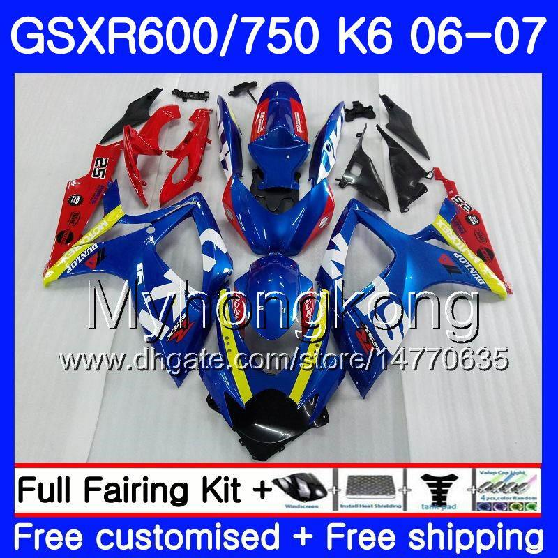 Тело для Suzuki GSXR 750 600 GSX R600 R750 GSXR750 06 07 296HM.0 GSX-R600 06 07 GSXR-750 K6 GSXR600 2006 2007 Обсуждение комплект заводской синий красный