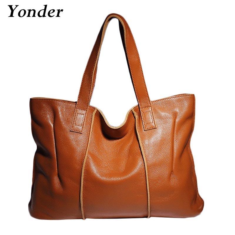 Yonder Art und Weise 100% echten Leder-Frauen Handtaschen-beiläufig Tote große Kapazitäts-elegante Dame-Schulter Crossbody Taschen Schwarz Gelb