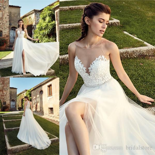 2019 Beach Boho Wedding Dresses A Line Sheer Neck Top Lace Front Slits Summer Country Garden Bridal Gowns Illusion Back vestito da sposa
