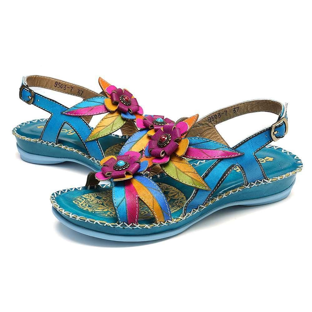 Women Retro Sandals Pointed Single Buckle Strap Beach Shoes