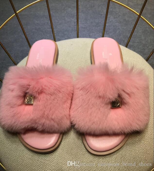 Новые женщины пушистые тапочки Пух повседневная обувь сапоги женская мода сандалии Кролик волосы тапочки FSDF525