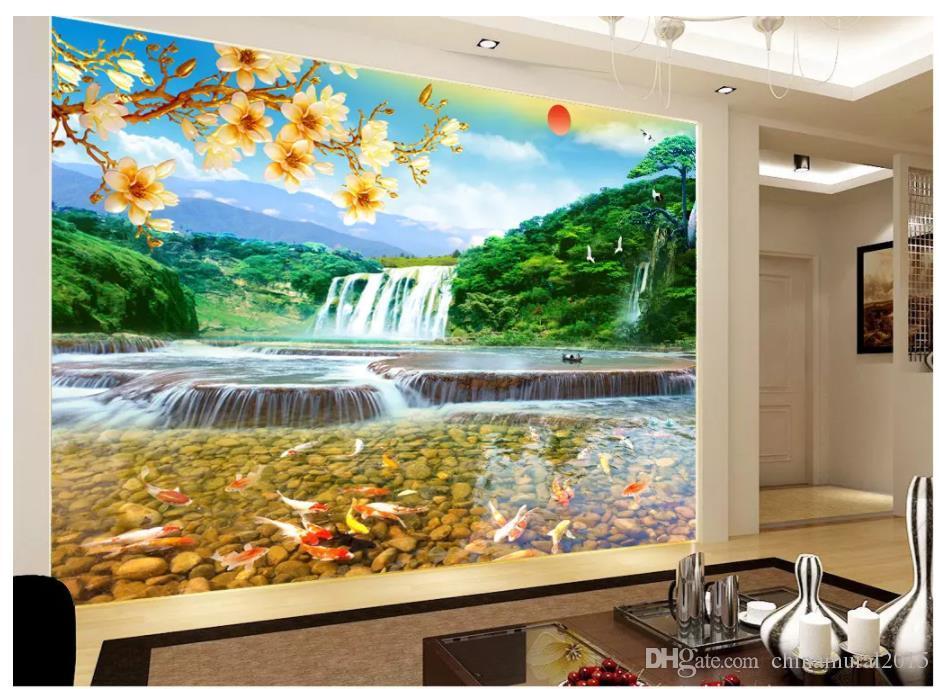 3d fondos de pantalla natural de agua de estilo chino y el Feng Shui pared de la cascada paisaje riqueza