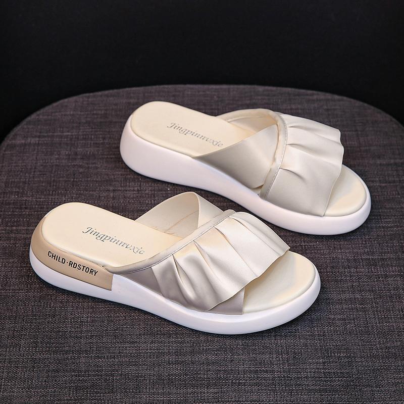 2020 neue Sommer-Frauen Schuhe Mode-Pantoffel täglich tragen dicke untere Außen Mikrofaser-Leder Flip-Flops 35-40