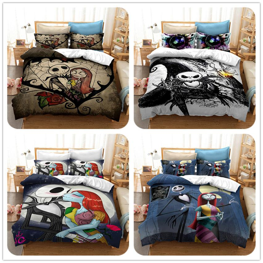 Cartoon 3D Printing Skull Jack and Sally The Nightmare Before Christmas Bedding Sets Classic Duvet Cover Bed Cover with Pillowcase N-16