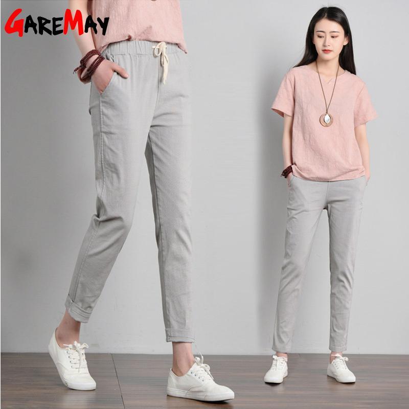 Garemay Cotton Linen Pants for Women Trousers Loose Casual Solid Color Women Harem Pants Plus Size Capri Women's Summer Y200114