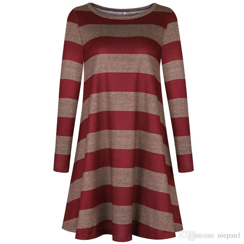 Europa und die Vereinigten Staaten Frauen tragen Rock heißen Stil breiten Streifen langärmeliges Kleid wie heiße Kuchen zu verkaufen