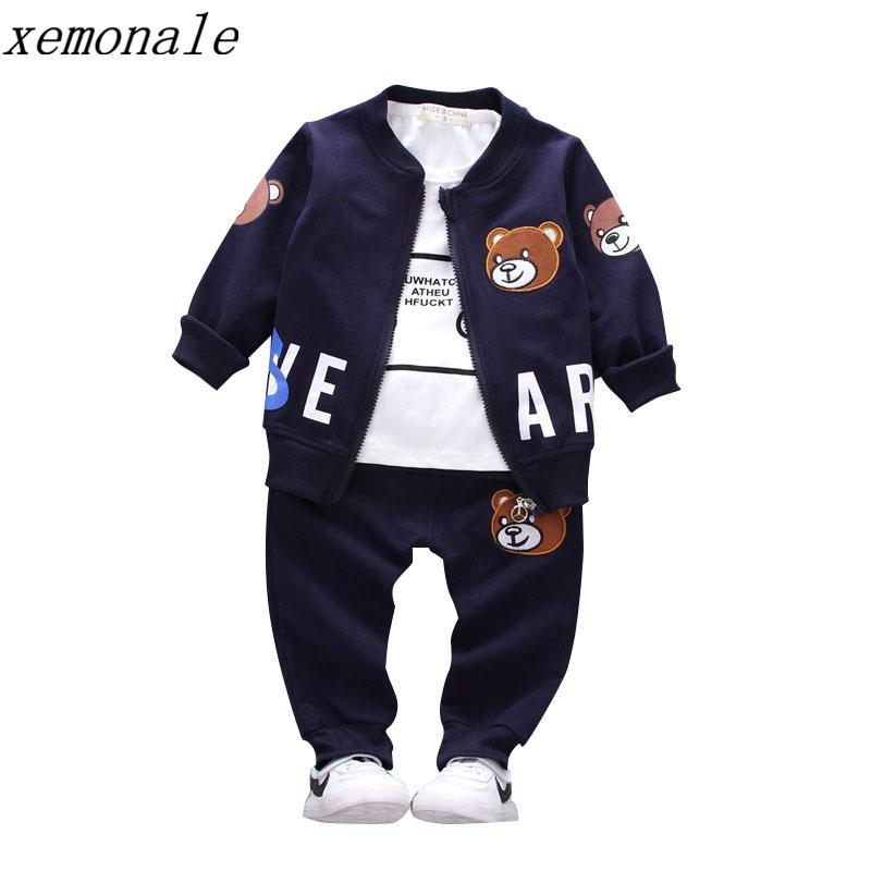 Nova Crianças Rapazes Raparigas Roupa Define Primavera Outono 2019 Brasão Estilo Moda algodão com calças roupa do bebê 3 Pcs agasalho