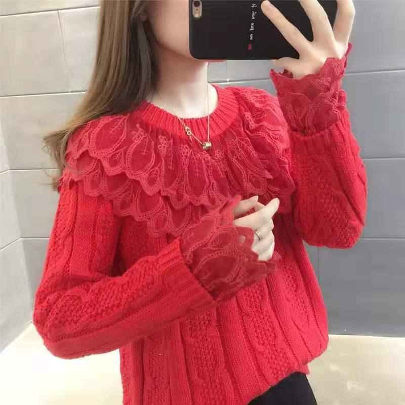 Женские свитера кружева шить свитер Женщины красный 2021 Весна Свободная прилив осенью и зимой