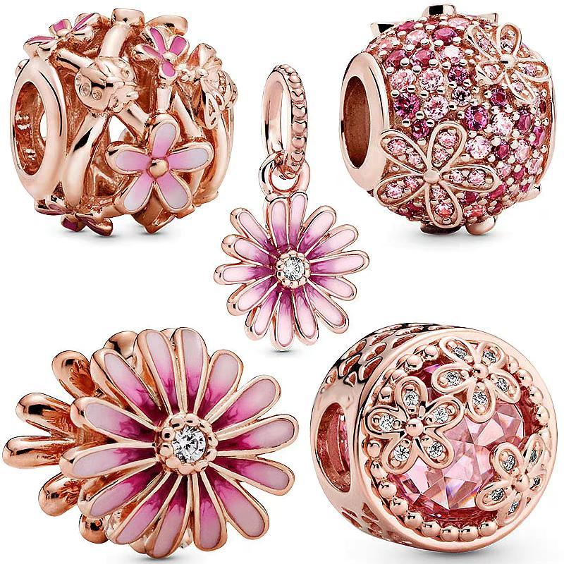 New Rose oro rosa fascino margherita PANDORA braccialetto zircone perline 925 monili che fanno donna argento di lusso regalo ciondolo
