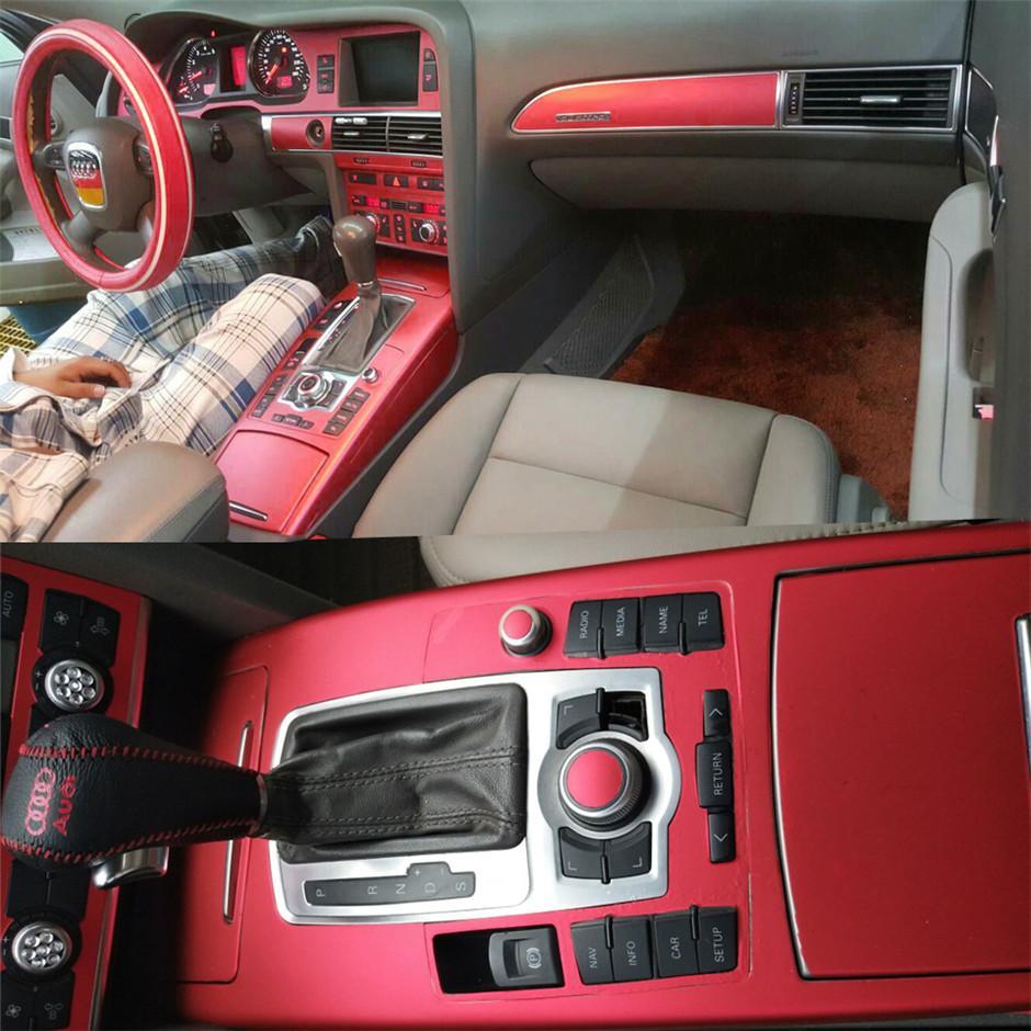 مركز السيارات التصميم 3D 5D ألياف الكربون سيارة الداخلية حدة تغير لون صب لاصق ملصق مائي لأودي A6 C6 2005-2011