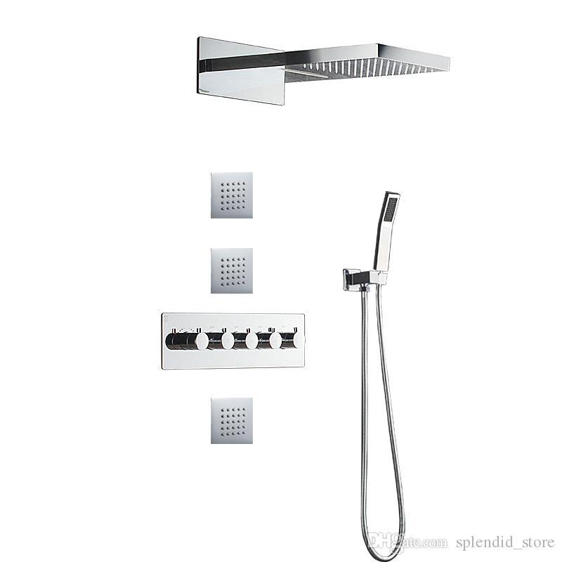 새로운 현대 뜨거운 및 차가운 샤워 꼭지는 4 가지의 목욕 시스템을 거치했다 놓았다 큰 비 + 마사지 폭포