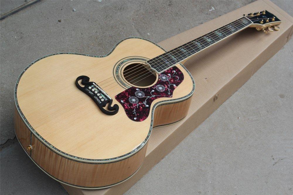 guitarra Ebony acústico com porca de osso / sela, Flame Bege volta / Side, colorido Shell Inlay, pode ser personalizado