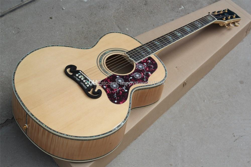 Ebony Накладка Акустическая гитара с костями гайка / седло, Flame Maple назад / Side, цветастый Shell инкрустацией, можно подгонять