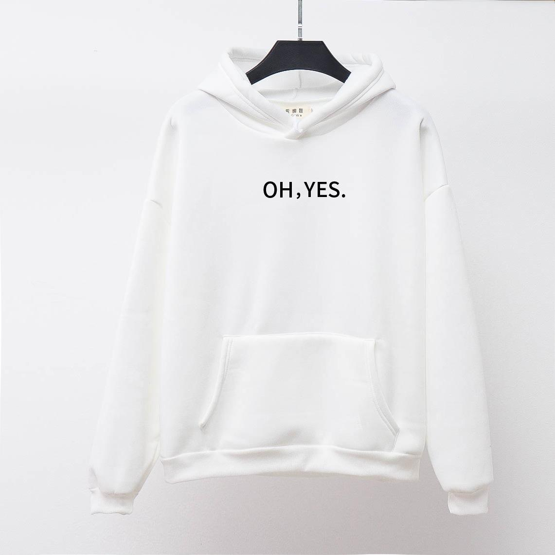 Harajuku Solid Color Winter Women Hoodie 2020 New Fashion Female Letter Print Hoodies Clothes Oversize Sweatshirts
