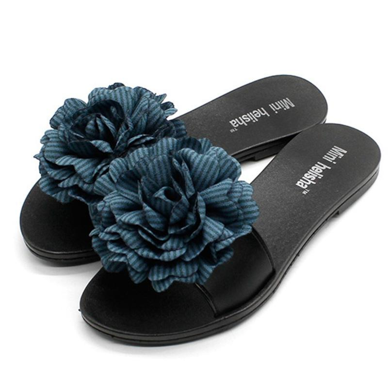 Womens Stripped Floral Flip Flops