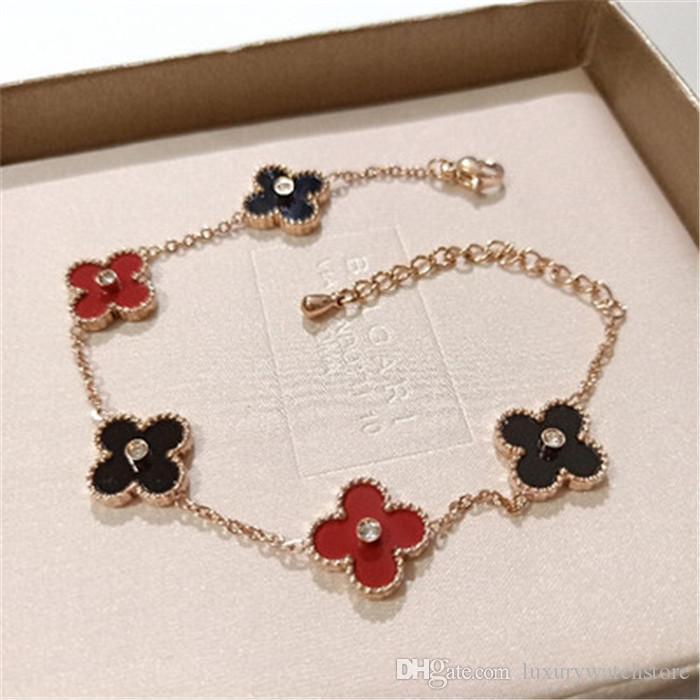 Luxe Bracelets Paris à quatre feuilles Bracelet trèfle chanceux Bracelet gloire expend amour richesses Stylisme femmes Fête de mariage Bracelets 925