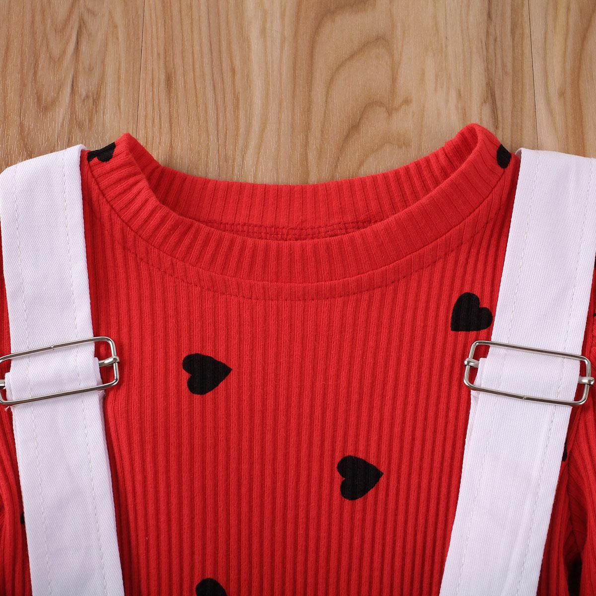 2ST Valentinstag Set für Kinder Baby-Herz-Druck Kurzarmshirts T-Shirt + Shorts Bib Pants Kleidung 1-6Y