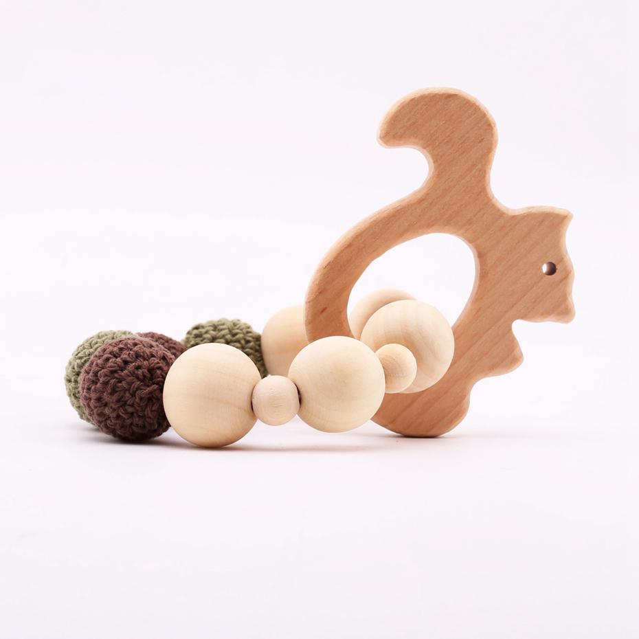 Vamos Marca Beech peixe de madeira Animais do bebê mordedor Chew madeira de bordo Rodada Beads Crochet Beads BPA Pulseiras dentição Bangles
