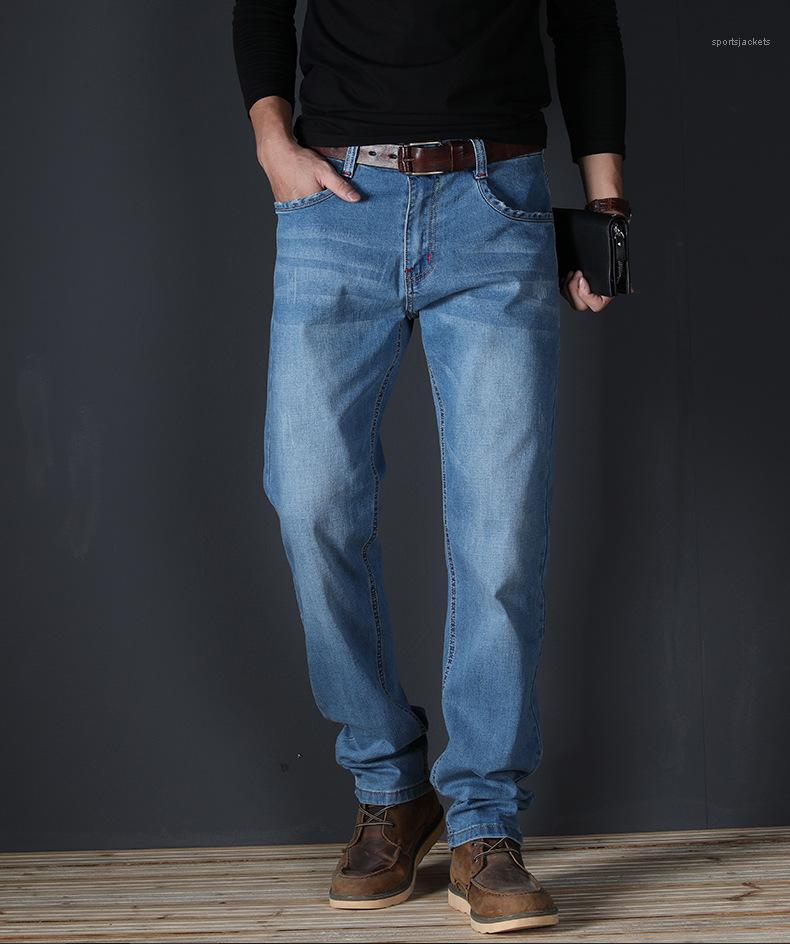 Hommes Jeans taille d'été légère Washed Stretch Jeans Hommes avec bouton Slim Straight Mid