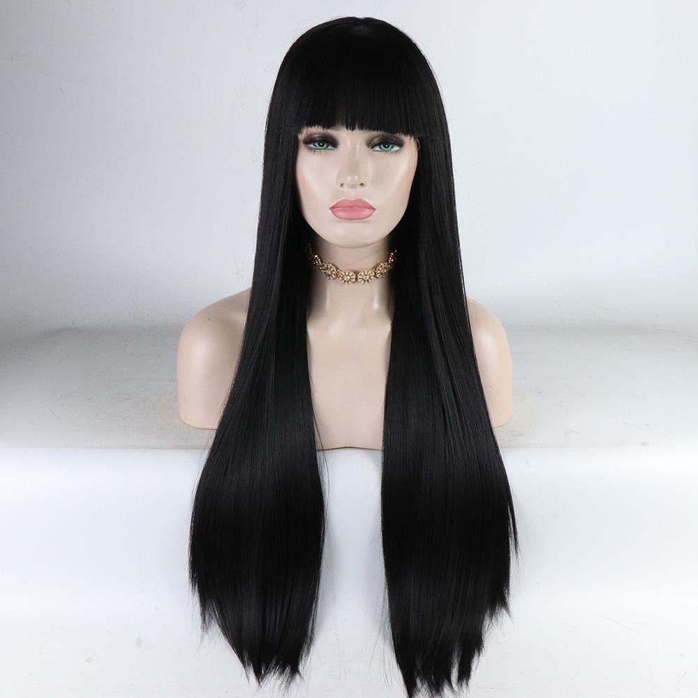 Fantasy Beauty Long Natural Straight Lace Front Wig With Bangs Black Fake Hair Glueless Heat Resistant Synthetic Hair Wigs Y190717