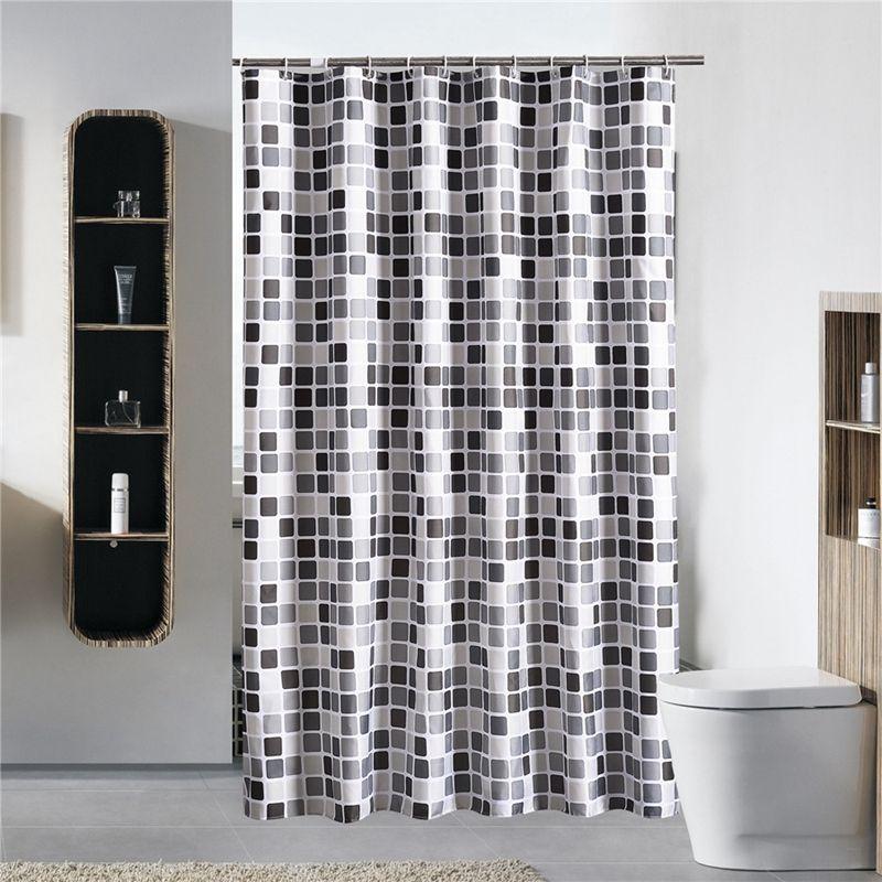 Negro + blanco + gris a cuadros Bañera Baño Tela cortina de ducha impermeable Mildewproof Con 12 Ganchos Baño Cortinas 200x200cm