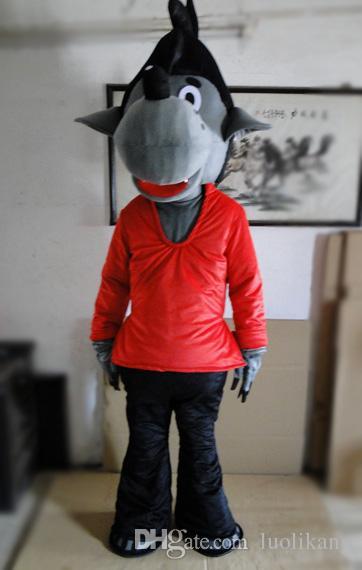 Кролик, подождите и увидите костюм талисмана Кролик, подождите и увидите костюм талисмана Большой плохой волк костюм талисмана красная футболка костюмы