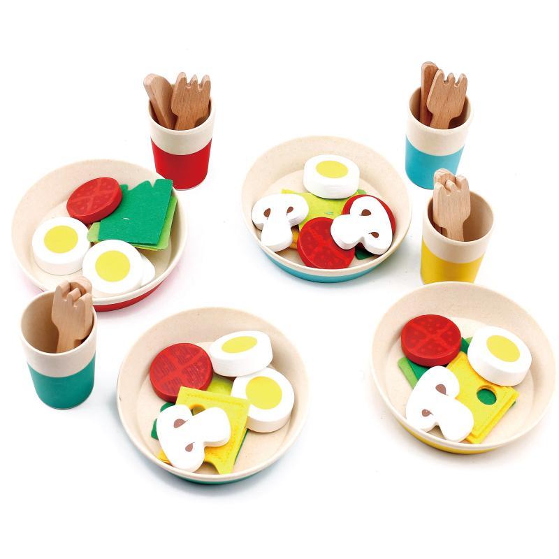 Jardín de la madre simulado Cocina Juguetes de madera Cuchillo Tenedor Tazón simulado Ensalada de alimento Cocción regalo Educación juego temprano para Bebés y Niños