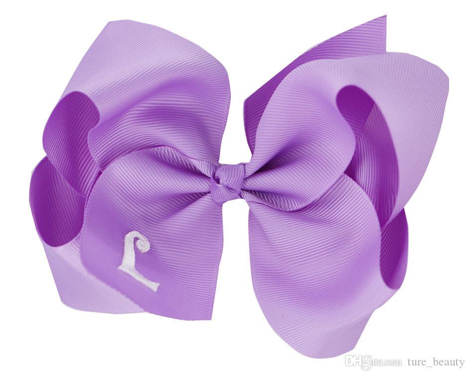 Lavender Monogram Hair Bow
