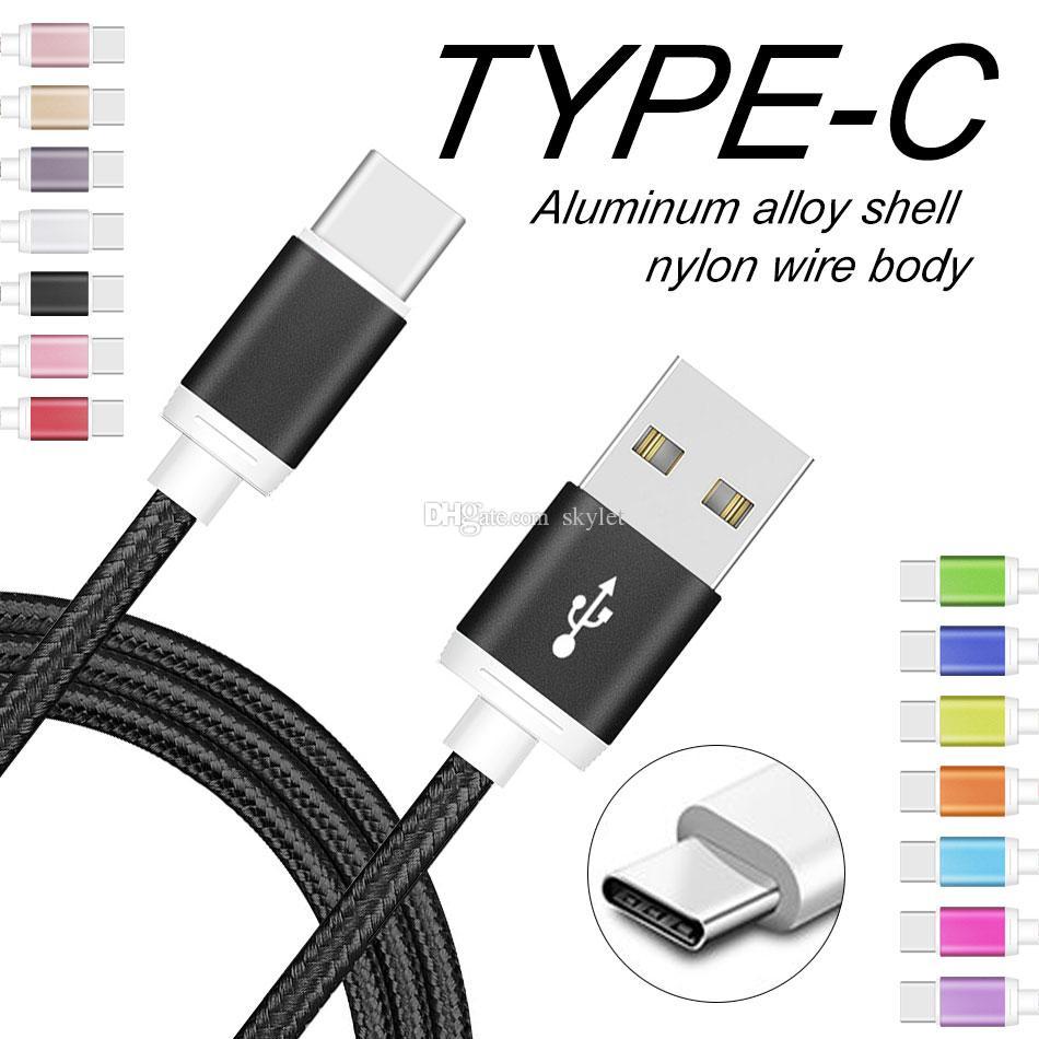 High Speed USB C Cable Tipo C cabo de carregamento de metal alojamento 2a Data Sync Cabos para telefones Samsung LG Huawei Android