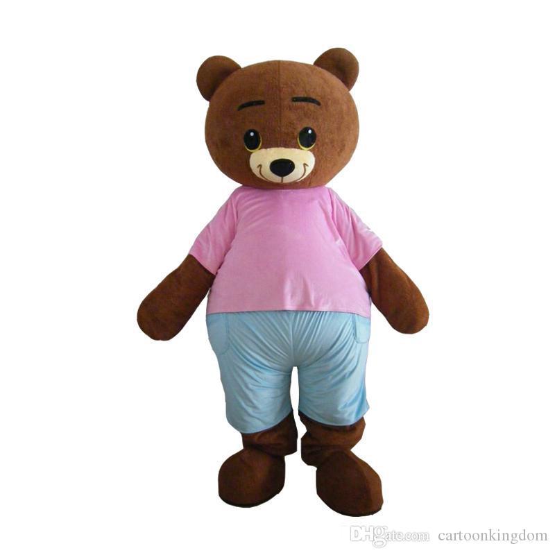 Sevimli Teddy Bear Özel Maskot Kostüm Yetişkin Karikatür Kostüm Ticari Reklam Için Fan Ile Fan
