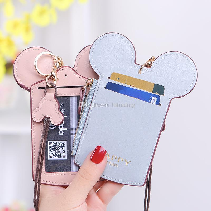 Cartoon Ear Letter Lanyard Neck Strap Card Holder Credit Card Bag Coin Purse Stationery Credit Card Holders bags 14 colors M861