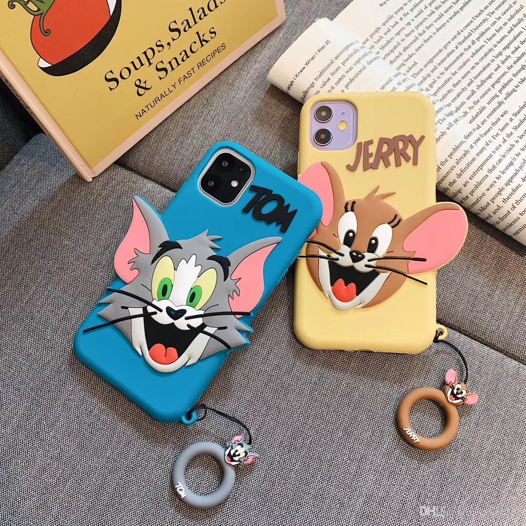gato dos desenhos animados bonito e caixa do telefone do mouse para iphone 11 11Pro max Xr X Xs 7 7plus 8 8plus 6 6plus tampa traseira