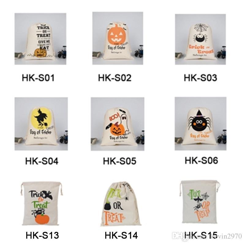2019 할로윈 자루 큰 유기 무거운 사탕 캔버스 자루 어린이 선물 졸라 가방 9 styels