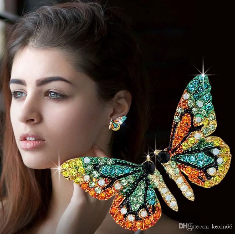 Kelebek kanatları Küpeler Elmas taklidi 925 Gümüş İğne Moda Joker Kişilik Kız Küpe