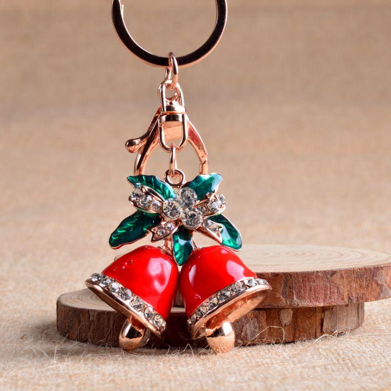 Christmas Ornaments Bell Keychain Metal Rhinestone Charm Pendant Christmas Gift Lady Bag Jewelry Exquisite Beautiful