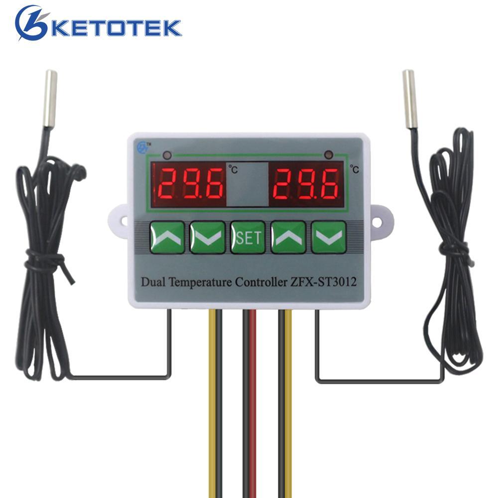 Regulador de temperatura del relé regulador de termostato dual digital de 110V-220V CA Temp. Interruptor para Incubadora con Sensor Dual