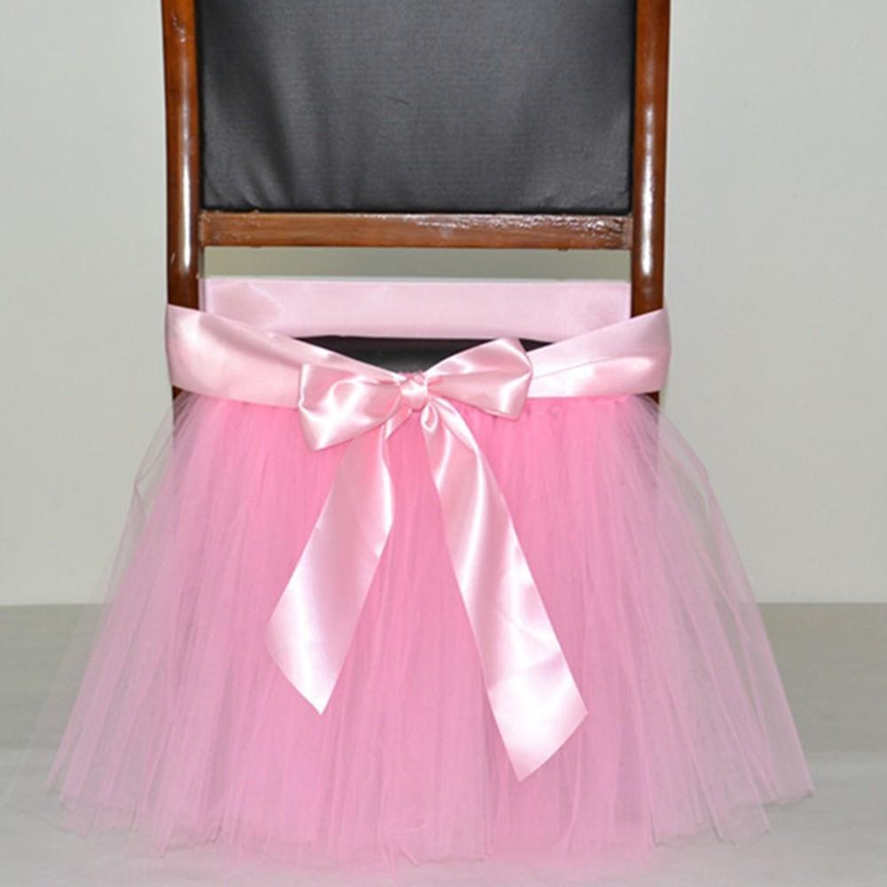Baby Shower Decorations Tutu Tulle Table Skirt Chair Sashes With Ribbon for Wedding Event Decoration Festive Party Supplies