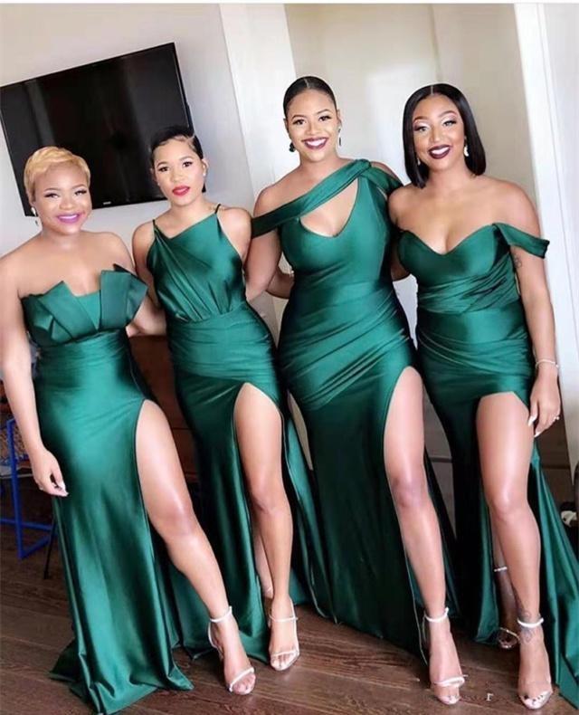 Onur törenlerinde ait Düğünler Kat Uzunluk Saten Biçimsel Maid için 2020 Ucuz Afrika Seksi Hunter Yeşil Uzun Denizkızı Yan Bölünmüş Gelinlik Modelleri