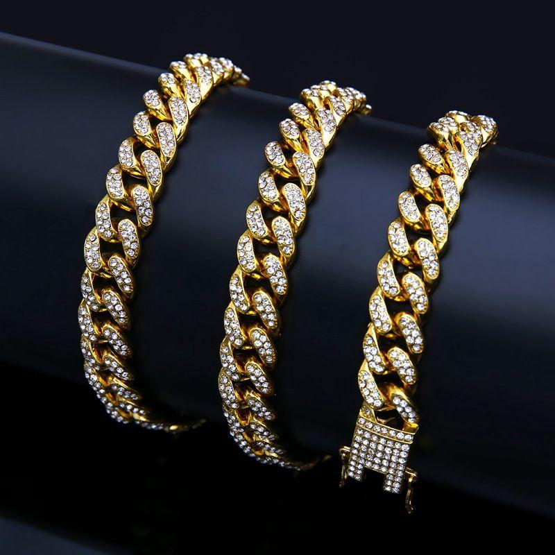 Chaud Sale Discount Mode Hommes et Femmes Bracelet cubain Bracelet hip-hop Tarte Zinc Alliage Diamant Bracelet doré 18K plaqué or non-allergique non allergique