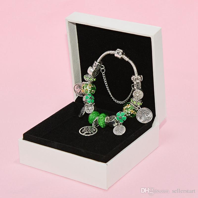 جديد سوار الخرز الزجاجي الأخضر قلادة للمجوهرات باندورا الفضة مطلي عالي الجودة السيدات مطرز DIY سوار مع عيد المربع الأصلي