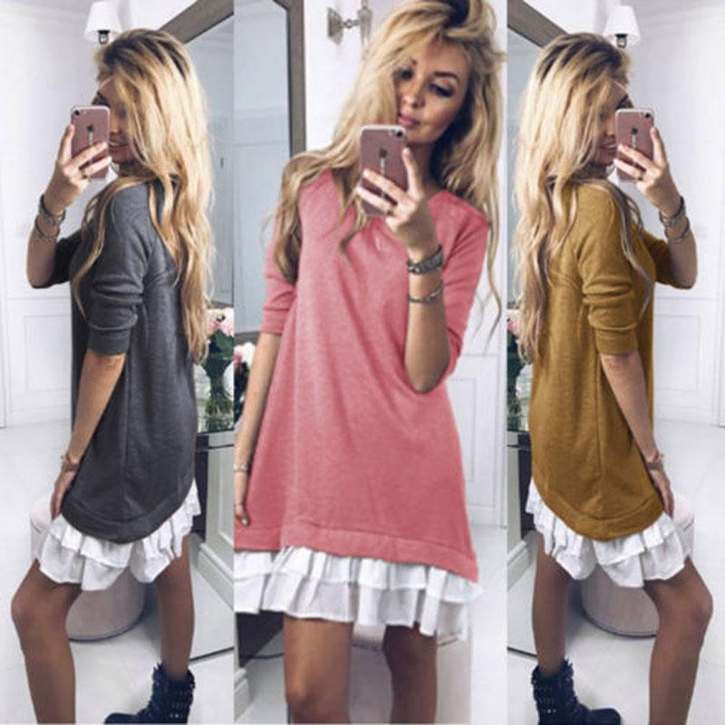 2018 Marca New Moda feminina Ladies Casual camisola manga comprida O-Neck Sweater Hoodie Jumper Inverno mini vestido