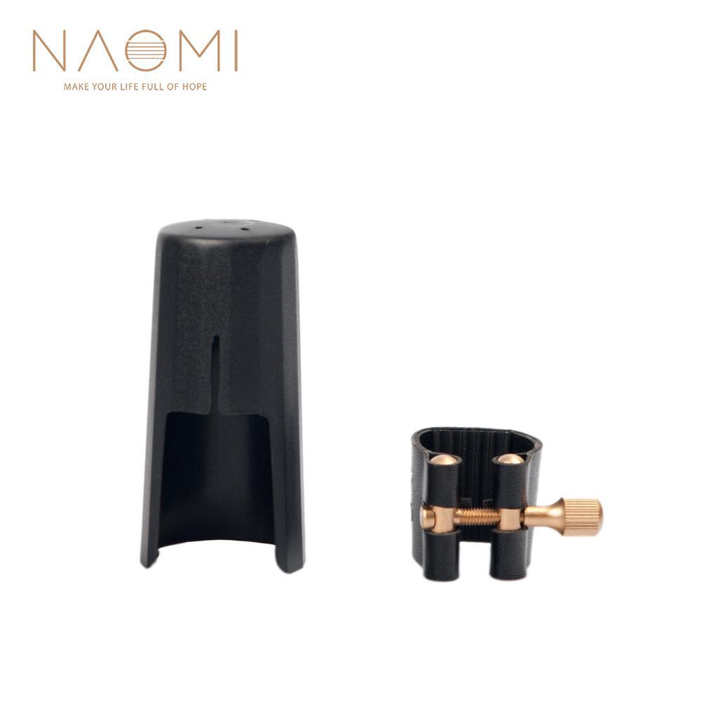 NAOMI Cuero Ligature Fastener W / tapa de plástico para saxofón saxofón alto Saxofón alto madera viento piezas accesorios