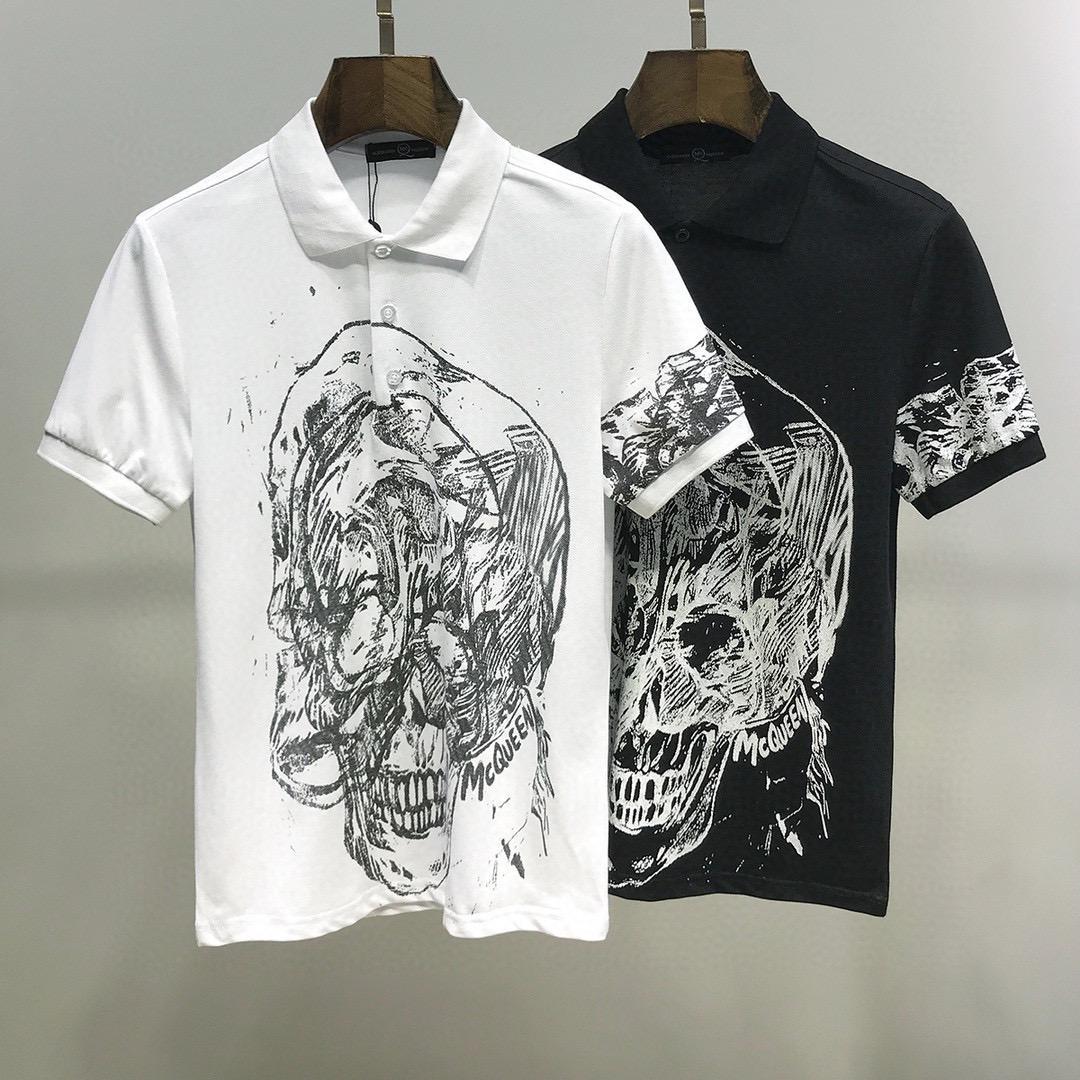 2020ss primavera y el nuevo algodón de alto grado del verano impresión de manga corta ronda panel de cuello de la camiseta Tamaño: M-L-XL-XXL-XXXL Color: negro blanco qs32