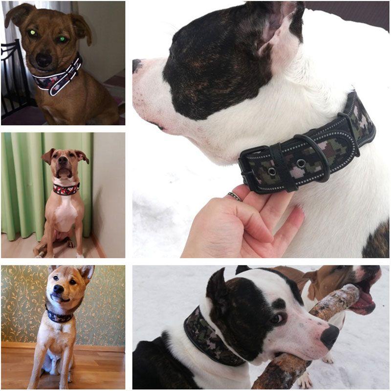 Confortável espuma acolchoada larga coleira de cão colorido Reflective Dog Pet Coleiras para Medium Large Dogs Francês Acessórios Bulldog