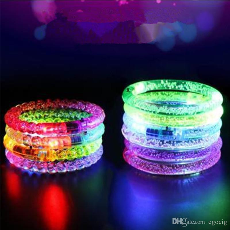 Светодиодный свет вверх мигающий браслет мигает Кристалл браслеты партии акриловые светящийся браслет из светодиодов Рождественский подарок